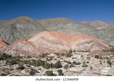 Purmamarca city, province of Jujuy, Argentina. The Seven Colors mountain is behind
