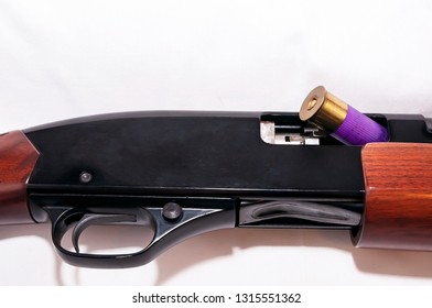 A purple 12 gauge shotgun shell shown partially in the chamber of a 12 gauge shotgun on a white background