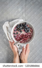 Purple Acai Smoothie Bowl with Hands