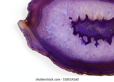 purple agate slice isolated on white background