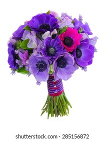 Purple Anemone and Sweet Pea Wedding Bouquet (isolated on white background)