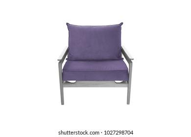 Purple Armchair. Modern Designer Chair On White Background. Texture Chair.