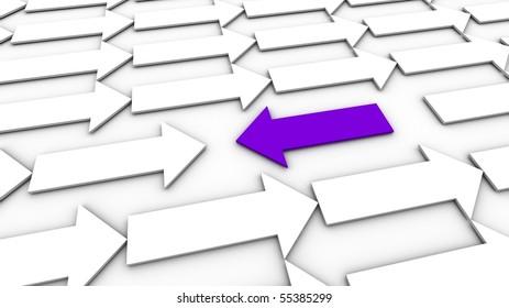 A purple arrow going against the flow.