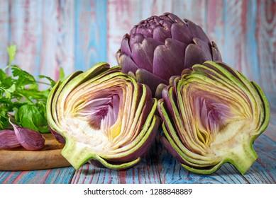 purple artichokes with ingredients