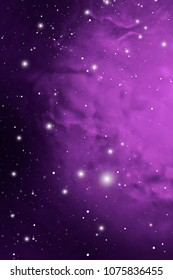 Purple Astrology Mystic Outer Space Background. Colorful Digital Illustration of Universe.