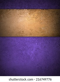 purple background with brown gold grunge stripe on top border and vintage texture
