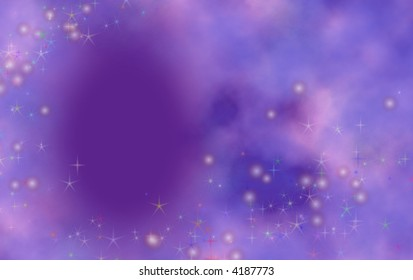 Purple background with dreamy effect and clouds with twinkles. Great for birthday card or invitation.