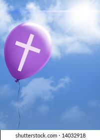 Purple balloon with cross floating to heaven