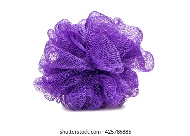 Purple Bath Body Scrubber Loofah Isolated On White