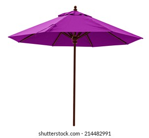Purple beach umbrella isolated on white. Clipping path included.