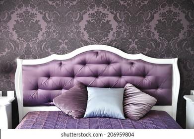 purple bedroom interior,  luxurious bed.
