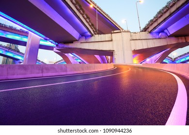 The purple blue LED landscape lamp of city overpass viaduct bridge of night scene in shanghai