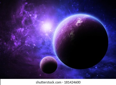 Purple and Blue Planet - Elements of This Image Furnished By NASA
