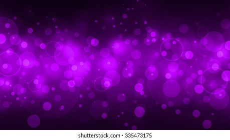 purple bokeh background with circle designs or blurred stars shining, glitter magic background, bright lights blurred in center stripe on purple black background
