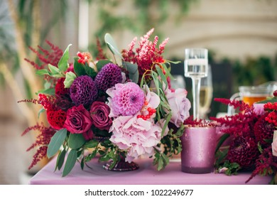 Purple bouquet of asters, roses and dahlias
