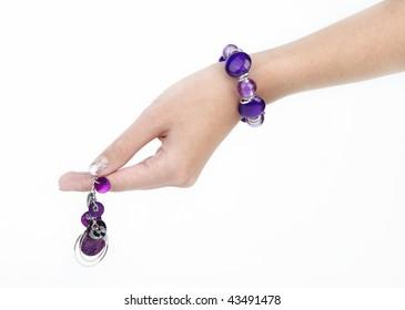 Purple bracelet and earring