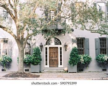 Purple Building Front in Charleston, South Carolina