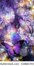Purple butterflies on small Chrysantemums. Glitter effects and artistic filters used.