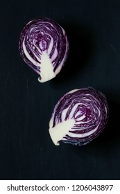 purple cabbage on a black background