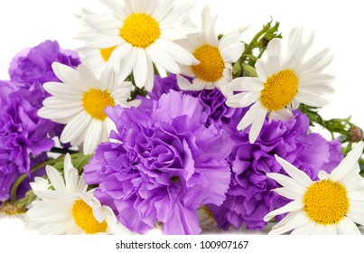 ?chamomiles and  purple carnation bouquet isolated on the white