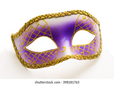 Purple carnival mask isolated