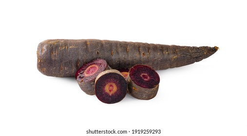 Purple carrots slice isolated on white background