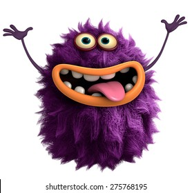 purple cartoon hairy monster 3d