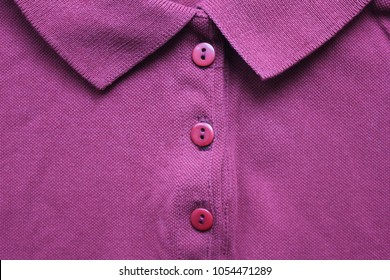 Purple Casual Polo T-Shirt with Collar Neck. Buttoned Up Stylish Clothing Design of Simple Vibrant Colorful Purple Shirt with No Print Close Up View. Modern Outwear Clothes Cotton Short Sleeve Shirt.