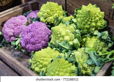 Purple cauliflower and Broccoflower at Market