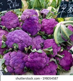 Purple cauliflower on food market in Geneva old town.