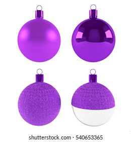 Purple Christmas ball  isolated on white - 3d rendering