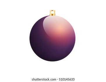 Purple christmas ball on white background