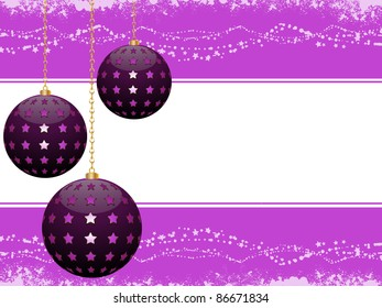 Purple Christmas baubles on a decorated border background