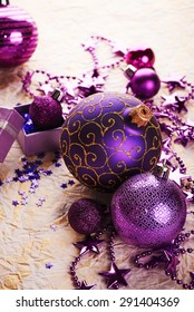 Purple christmas decoration on paper background