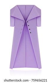 Purple coat of origami, isolated on white background.