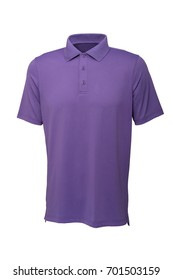 Purple color golf tee shirt for man or woman on white background
