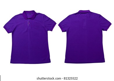 Purple color Polo Shirt with white background  Men Front and back Polo Shirt
