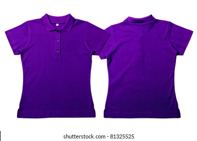 Purple color Polo Shirt with white background  Women Front and back Polo Shirt