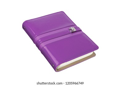 The purple colored, metal closure and hard-cover leather daily planner isolated on white background. The personal daily planner monthly is a great way of keeping yourself organized.