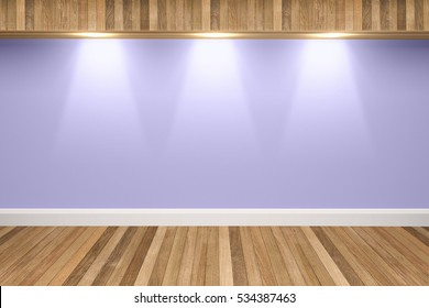 Purple colors wall & wood floor interior with light spots,3D illustration