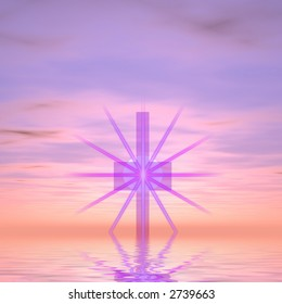 Purple cross with star burst against purple sky rising from water.
