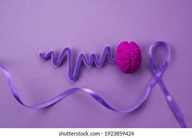Purple day. Epilepsy awareness day. Awareness Purple ribbon