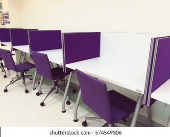 purple desk for reading the book at library