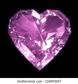 Purple diamond heart isolated on black BG with clipping path