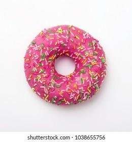 Purple donut in glaze on a white background. Great fresh tasty purple donut drizzled with glaze