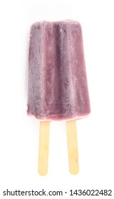 Purple Double Stick Popsicle Isolated on a White Background