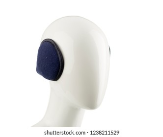 Purple Ear Muff on Mannequin Isolated
