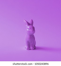 Purple easter bunny. One color concept. Minimal ultra violet.