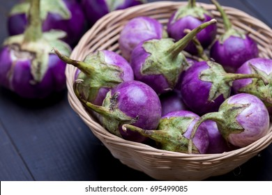 Purple Eggplants with selective focus