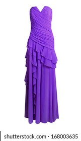 Purple evening dress isolated on white